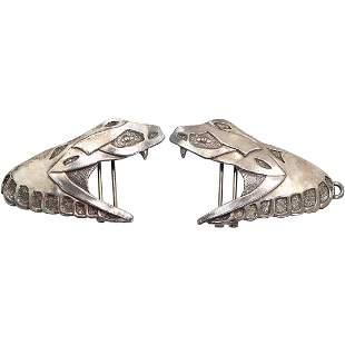[2] Silver Plated Metal Lizard Belt Buckles