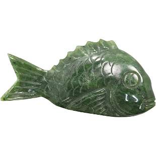 Large Green Jade Fish Carved Figure / Pendant
