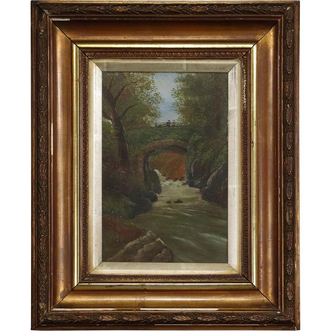 Roman Bridge 1936 Oil on Canvas Painting with Figures