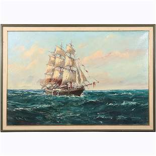 Full Sail Ship on Seas, Vintage Oil/c Signed Illegible