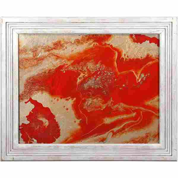 20th C. Modern Red Abstract Oil on Canvas Painting