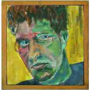 Modernism Portrait of a Man Oil on Canvas