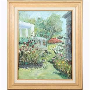 Rose Gates, Fine 20th C Oil/b Aunt Sadie's Garden