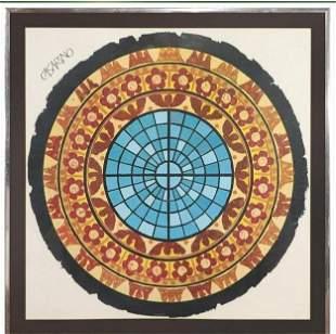 Casarino, Abstract Mosaic Lithograph Round Circle