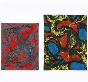 [2] Two Colorful Abstract Paintings Acrylic on Canvas