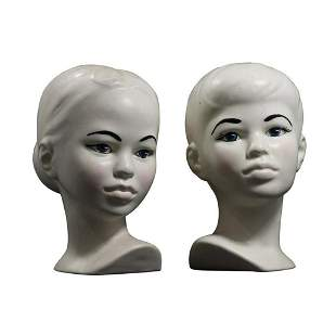 Holland Mold White Ceramic Polynesian Boy & Girl Busts