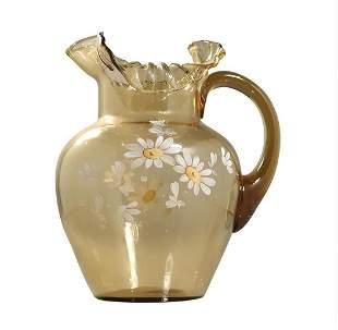 Victorian Amber Water Pitcher Hand Paint Sun Flowers
