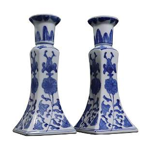 Chinese Porcelain Tall Blue and White Candlesticks