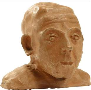 L Moore, Signed Vintage Clay Sculpture Head Bust