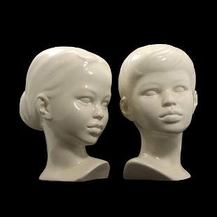 [2] White Ceramic Busts of Young Boy & Young Girl
