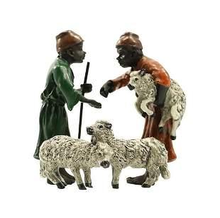 after Bergman, Vienna Bronze Arabian Sheep Traders
