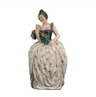 Vintage Italian Ceramic Woman in Gown Holding Roses