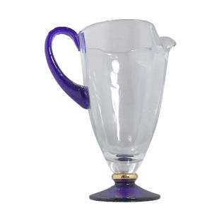 Crystal Glass Water Pitcher with Applied Cobalt Handle