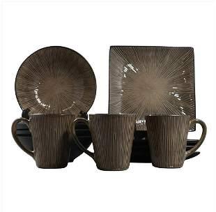 11 Pc. Modern Design Brown Ceramic Dish Set