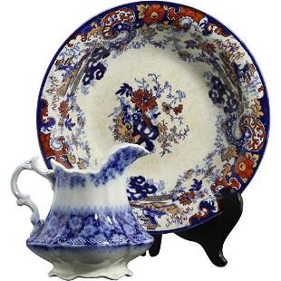 [2] Early Ironstone Decorated Plate, Flow Blue Pitcher