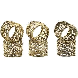 [6] Six Modern Brutalist Wire Napkin Ring Holders