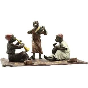 after Bergman, Vienna Bronze 3 Arab Children Musicians