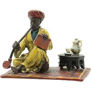 after Bergman, Vienna Bronze Arab Smoking Opium Pipe