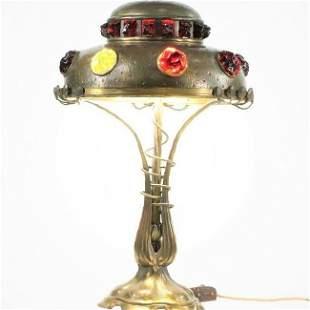 Bronze Art Nouveau Austrian Lamp has Glass Chunk Jewels