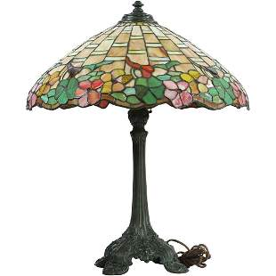 Wilkinson Antique Leaded Glass Floral Border Table Lamp