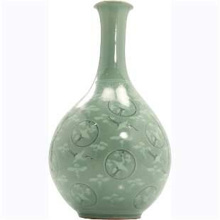 Green Celadon Porcelain Bottle Neck Vase Heron Birds