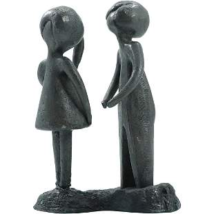 Mid-Century Lead Sculpture of Young Boy & Girl