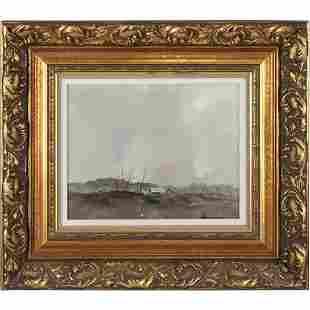 Don Hornberger 1921-2006, Oil/b Storm over Farmhouse
