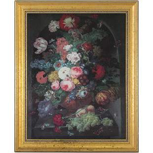 20th C. Giclee on Canvas Flemish Floral Still Life