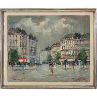 Parisian Street Scene Vintage Oil Painting, Signed