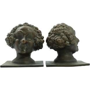[2] Cast Bronze Curley Hair Head Bust Sculptures