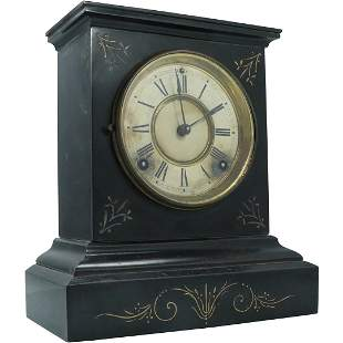 Ansonia Black Marble Mantle Clock Incised Gold Decorate
