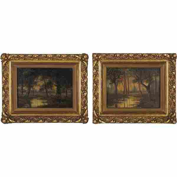 [2] Antique Oil Paintings Forest Landscapes with Stream