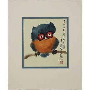 Signed Asian Oriental Watercolor Owl on Branch