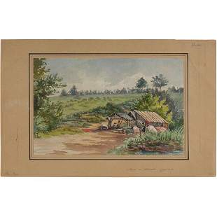 1899 Watercolor Painting, Camp at Stream Edge