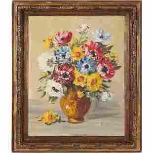 Ritter, Vintage Oil/c Still Life Flowers in Vase