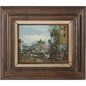Joseph Oliveri, Oil/c Mid Eastern Cityscape, Figures