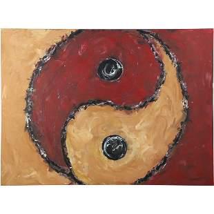 Herman Zuker, b. 1959 Polish / Amer, Oil/c Yin and Yang