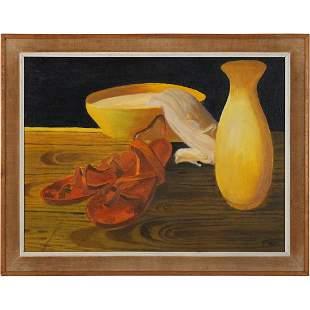 F Mato, Oil/b Mid-Century Still Life Yellow Vase, Bowl