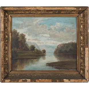 L Blake 1893, Oil/b Hudson River New York Oil Painting