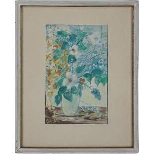 Julie Bott, 1911-2002 W/c Still Life Flowers in Vase