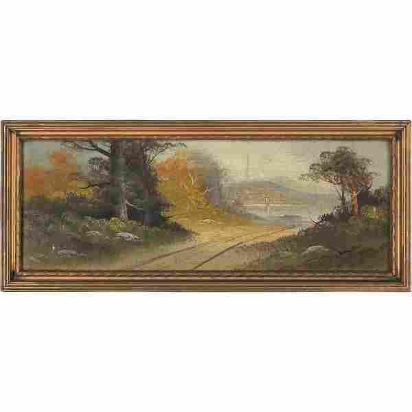 Hudson River School Oil/b Road to The Hudson River