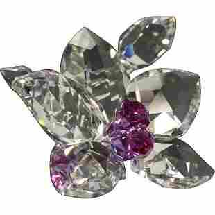 Swarovski [Signed Swan] Crystal Glass Flower Sculpture