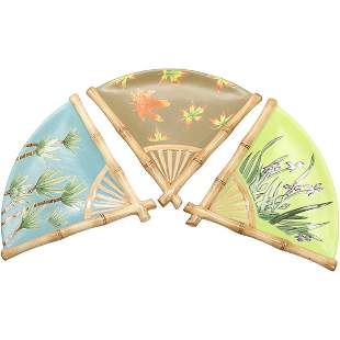 Silvestri, 3 Porcelain Fan Plates in Box Asian Society
