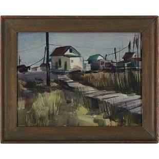 Paslouski, Polish, 1950s Watercolor Shore Beach Homes