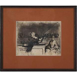 Honore Daumier Vintage Framed Lithograph