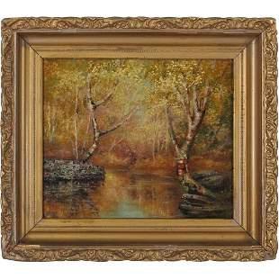 Nina MacGregor, Oil/b Autumn Birch Trees at Stream