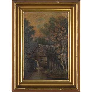 19th C. Country Log Cabin Gristmill Oil Painting