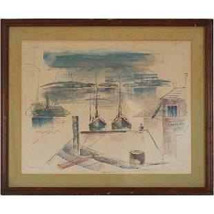 Alfred Birdsey 1912-1996 Aquatint Fishing Boats at Dock
