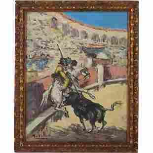 Murillo, Vintage O/c Latin American Matador Bull Fight