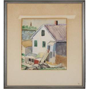 Dorothy Rose, Watercolor Beach House at Rockport